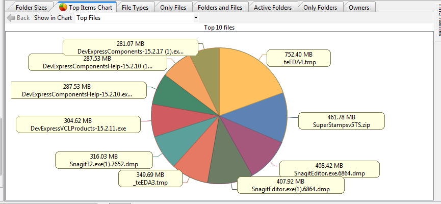 Top Items Chart for Disk Space Usage