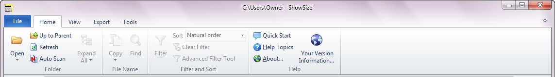 Ribbon Menu in new ShowSize 6