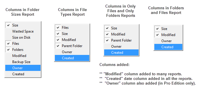 More columns in files and folders reports