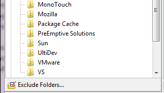 Excluded folders shown in strikeout font