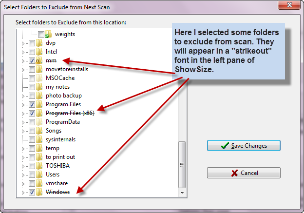 Exclude folders feature to speed up the scan