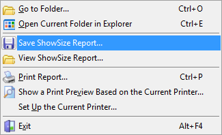How to save a directory listing to a file with ShowSize