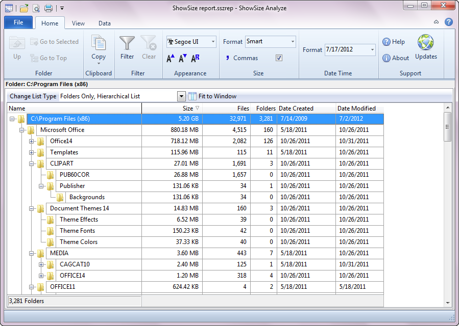 ShowSize Analyze report analyzer of disk space